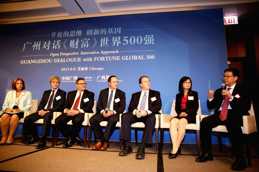 CHICAGO, June 9, 2017 - Delegates attend the Guangzhou Dialogue with FORTUNE GLOBAL 500 in Chicago, the United States, June 8, 2017.