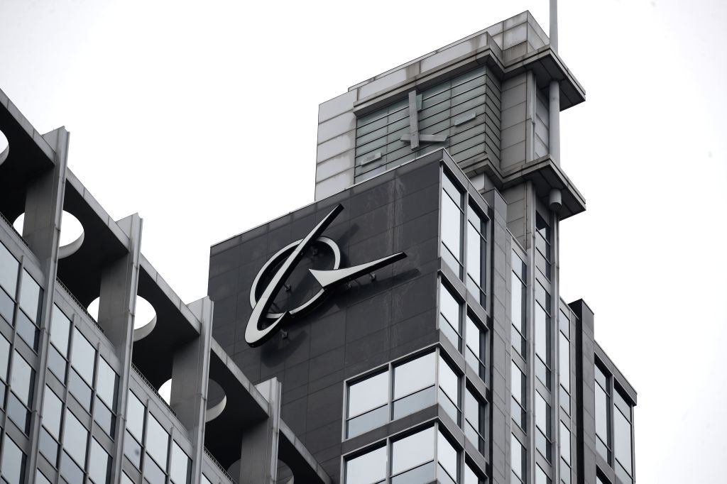 CHICAGO, March 13, 2019 - Photo taken on March 13, 2019 shows the Boeing logo at its headquarters in downtown Chicago, the United States. U.S. aircraft manufacturer Boeing said Wednesday it has ...