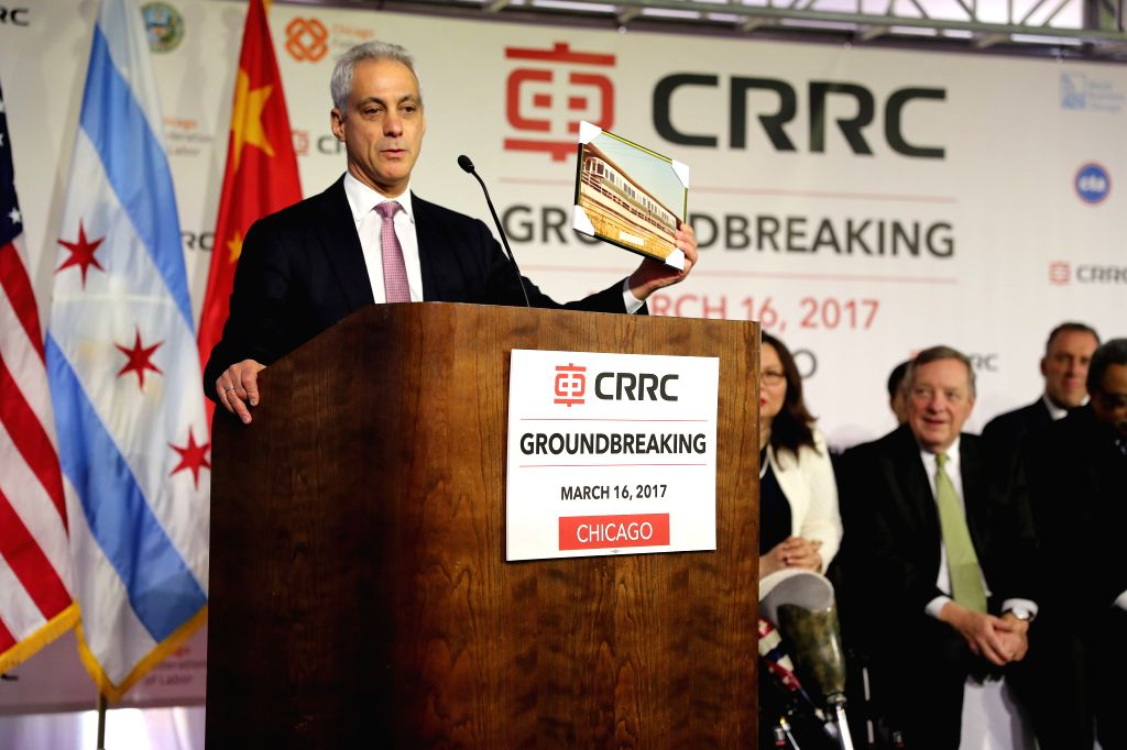 CHICAGO, March 17, 2017 - Chicago Mayor Rahm Emanuel speaks during a ground-breaking ceremony for a railcar assembly plant in Chicago, the United States, March 16, 2017. As the investor, China ...