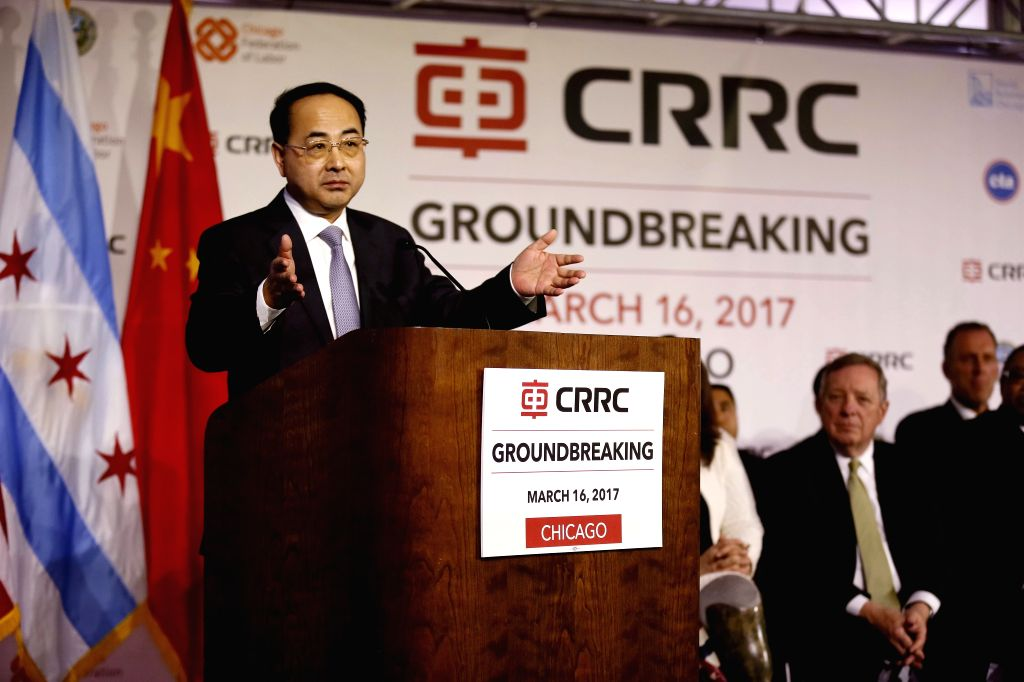 CHICAGO, March 17, 2017 - China Railway Rolling Stock Corporation (CRRC) Corporation Ltd. Vice President Sun Yongcai speaks during a ground-breaking ceremony for a railcar assembly plant in Chicago, ...