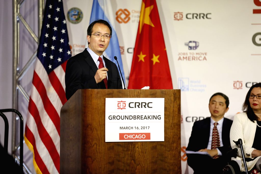 CHICAGO, March 17, 2017 - Chinese Consul General in Chicago Hong Lei speaks during a ground-breaking ceremony for a railcar assembly plant in Chicago, the United States, March 16, 2017. As the ...
