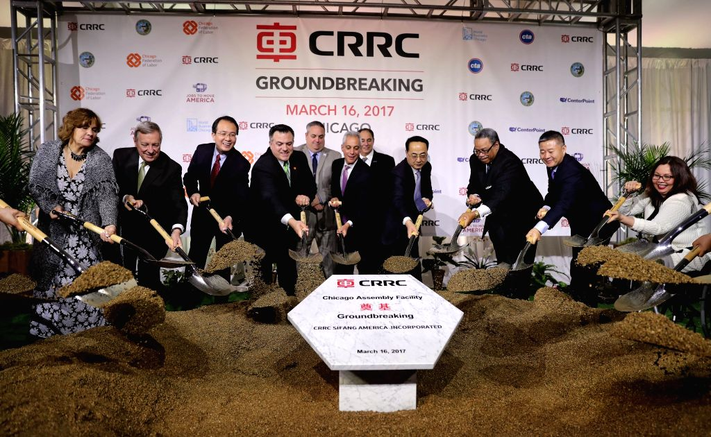 CHICAGO, March 17, 2017 - Representatives and guests attend a ground-breaking ceremony for a railcar assembly plant in Chicago, the United States, March 16, 2017. As the investor, China Railway ...