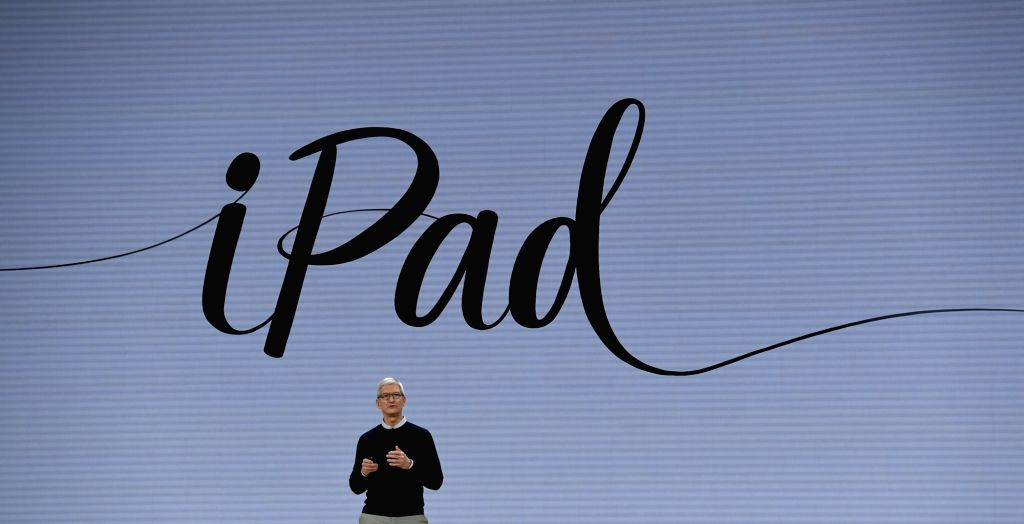 CHICAGO, March 28, 2018 - Apple CEO Tim Cook introduces a new iPad in Chicago, the United States, on March 27, 2018. Apple on Tuesday introduced a new iPad with a digital pencil to draw and write ...