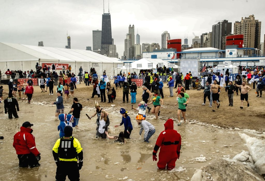 CHICAGO, March 3, 2019 - Participants take part in the 19th annual Chicago Polar Plunge at North Avenue Beach in Chicago, Illinois, the United States, on March 3, 2019. Chicago hosted the 19th annual ...