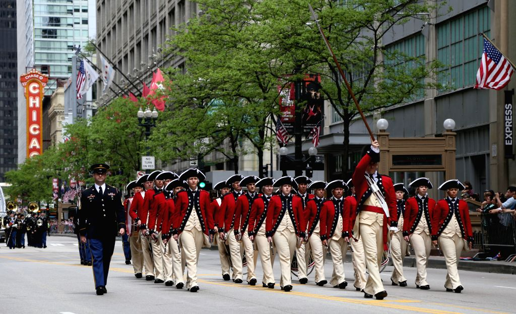 CHICAGO, May 25, 2019 - Participants take part in the Memorial Day Parade in Chicago, the United States, on May 25, 2019. The Memorial Day is a federal holiday in the United States for remembering ...