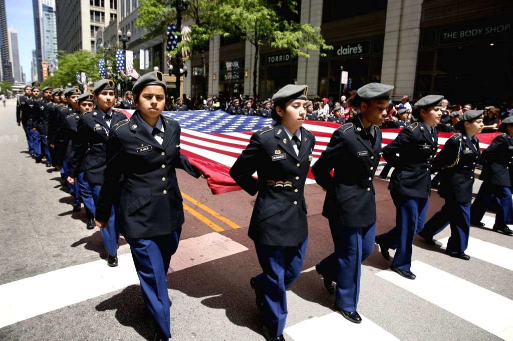 CHICAGO, May 28, 2017 - Local students participate in a Memorial Day Parade in Chicago, the United States, on May 27, 2017. The Memorial Day is a United States federal holiday observed on the last ...