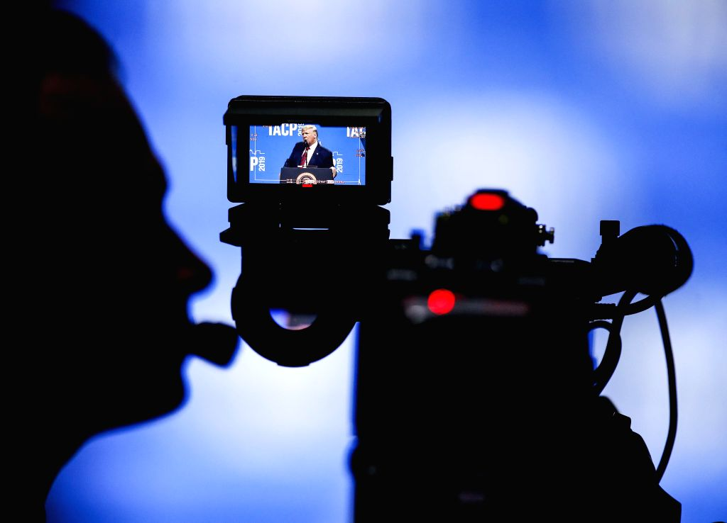 CHICAGO, Oct. 28, 2019 - The screen of a video camera shows U.S. President Donald Trump speaking at the International Association of Chiefs of Police Conference at the McCormick Place Convention ...