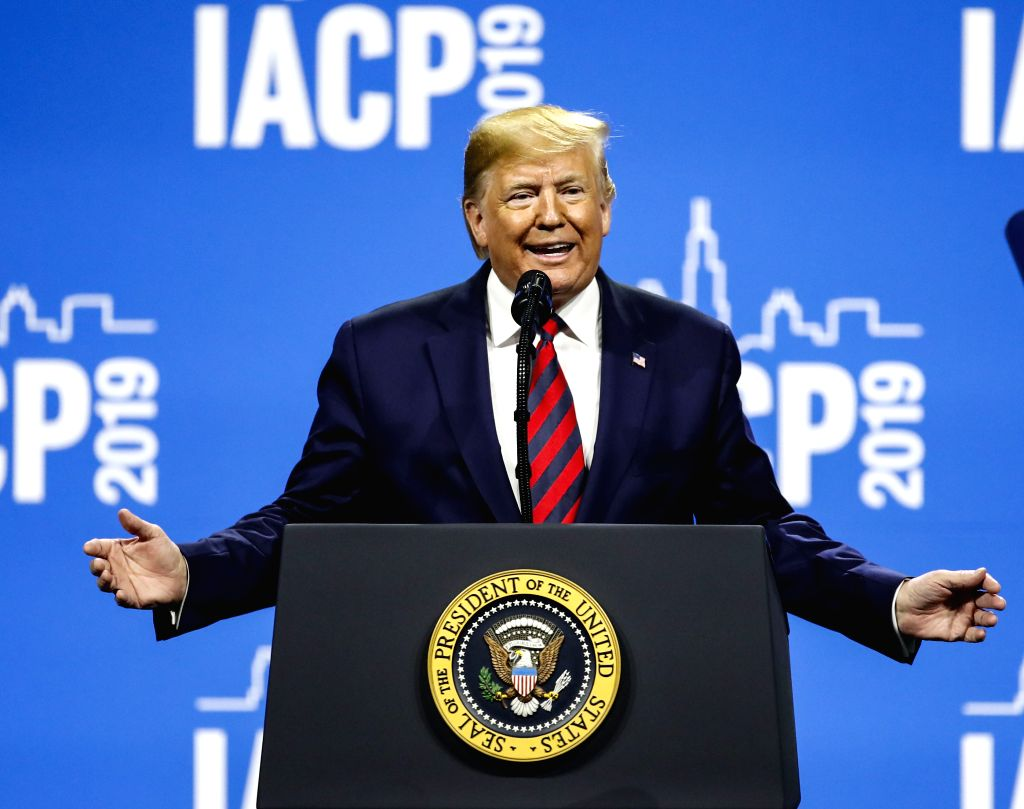 CHICAGO, Oct. 28, 2019 - U.S. President Donald Trump speaks at the International Association of Chiefs of Police Conference at the McCormick Place Convention Center in Chicago, the United States, on ...