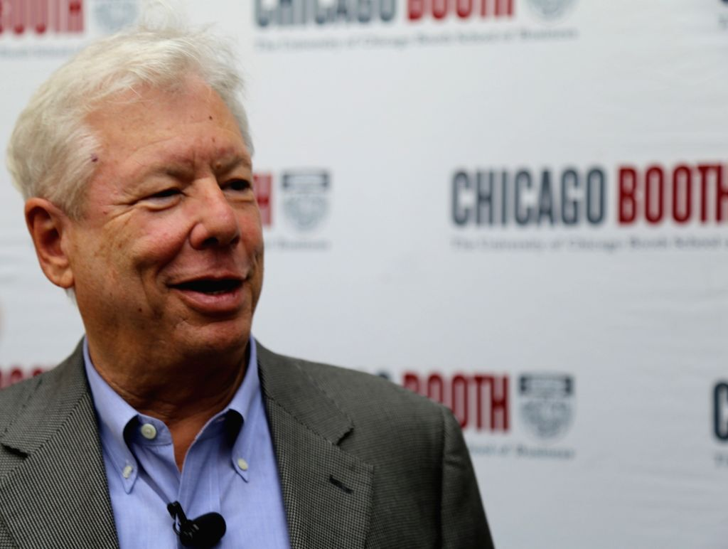 CHICAGO, Oct. 9, 2017 - Richard H. Thaler, 2017 Nobel Prize winner in Economics, attends a press conference at University of Chicago Booth School of Business in Chicago, the United States, on Oct. 9, ...