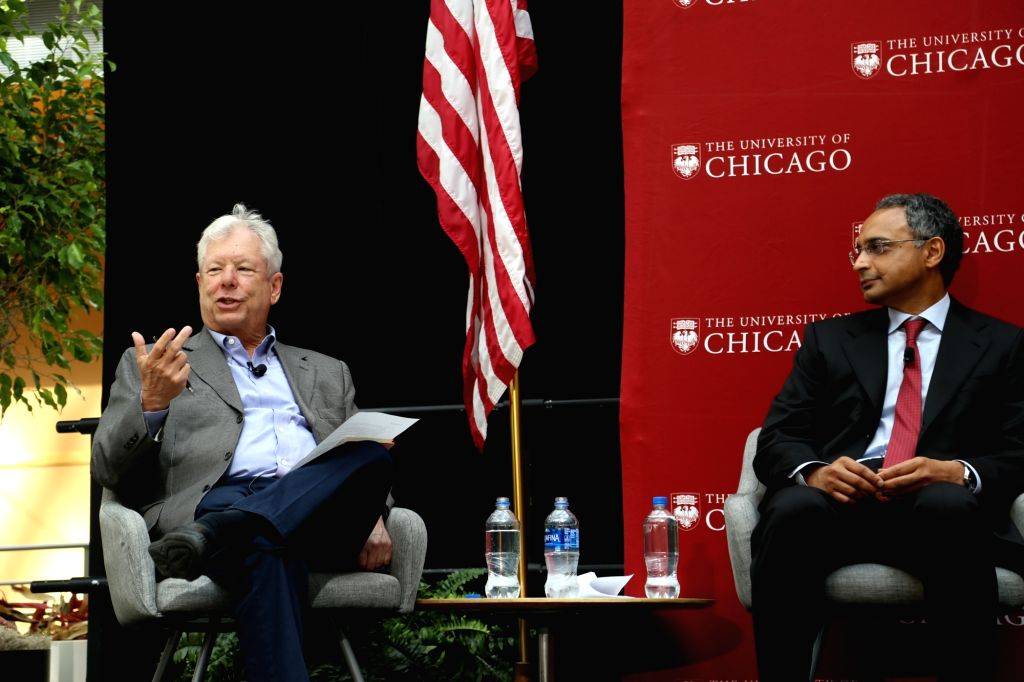 CHICAGO, Oct. 9, 2017 - Richard H. Thaler (L), 2017 Nobel Prize winner in Economics, speaks during a press conference at University of Chicago Booth School of Business in Chicago, the United States, ...