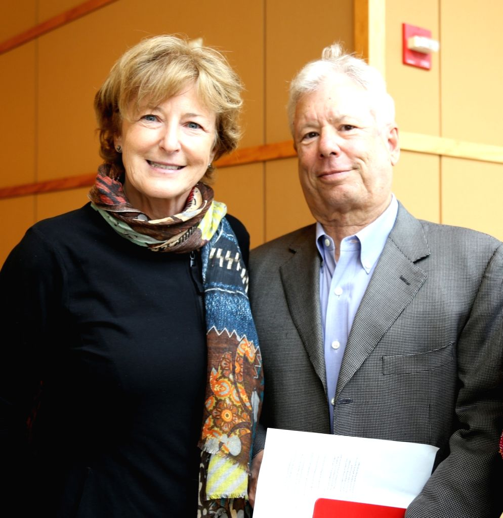 CHICAGO, Oct. 9, 2017 - Richard H. Thaler (R), 2017 Nobel Prize winner in Economics, poses for photos with his wife during a press conference at University of Chicago Booth School of Business in ...