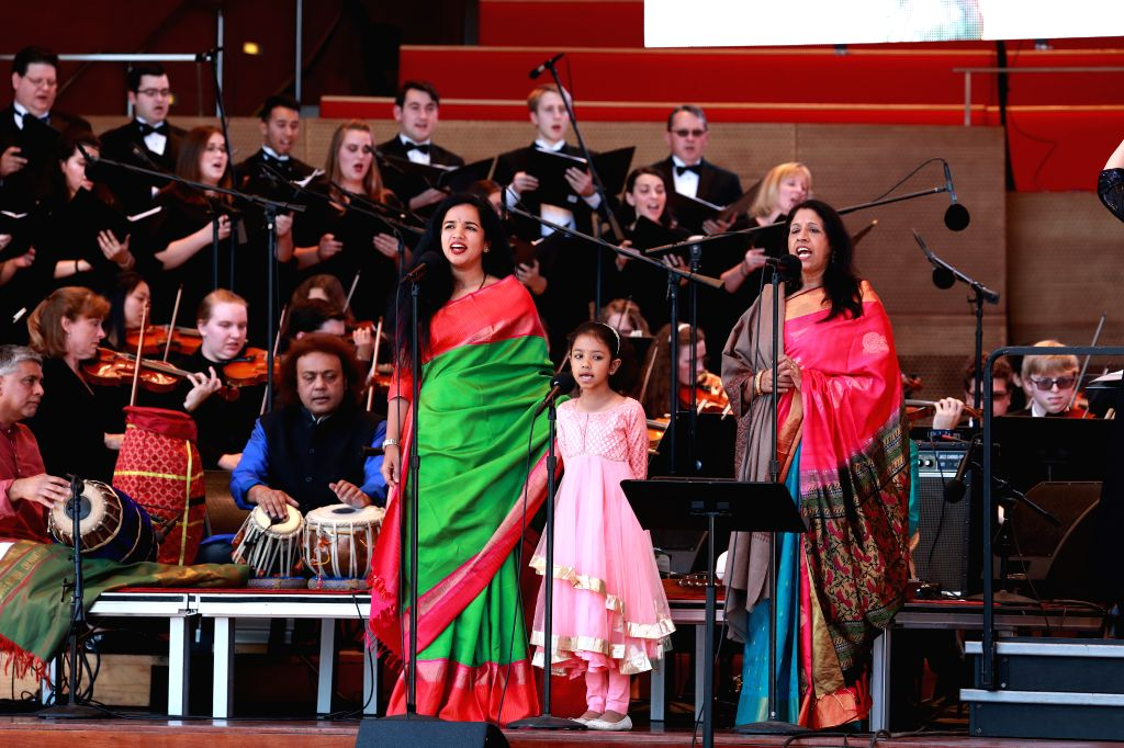 CHICAGO, Sept. 10, 2017 - Indian artists perform during the annual World Music Festival in Chicago, the United States, on Sept. 9, 2017.