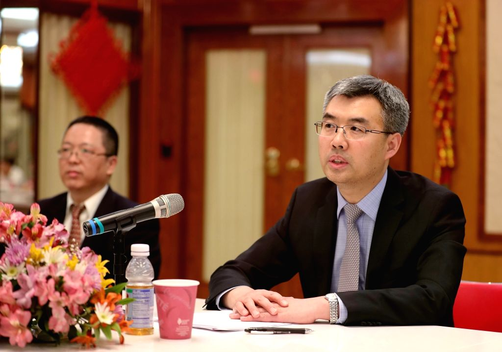 CHICAGO (U.S.), April 26, 2019 Chinese Consul-General in Chicago Zhao Jian (R) speaks during a press reception in Chicago, the United States, on April 25, 2019. Chinese Consul-General in ...