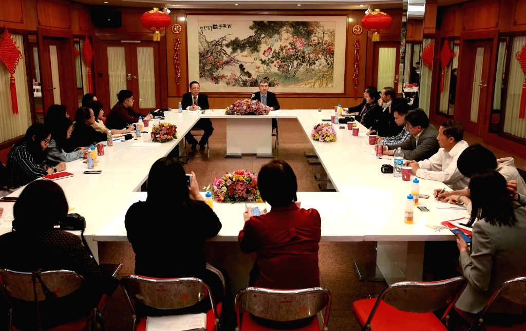 CHICAGO (U.S.), April 26, 2019 Chinese diplomats and journalists attend a press reception in Chicago, the United States, on April 25, 2019. Chinese Consul-General in Chicago Zhao Jian ...