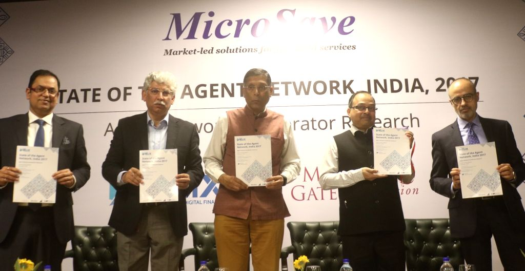 Chief Economic Adviser Arvind Subramanian along with other dignitaries launches a report on Agent Network Accelerator research in New Delhi on Feb 14, 2018.
