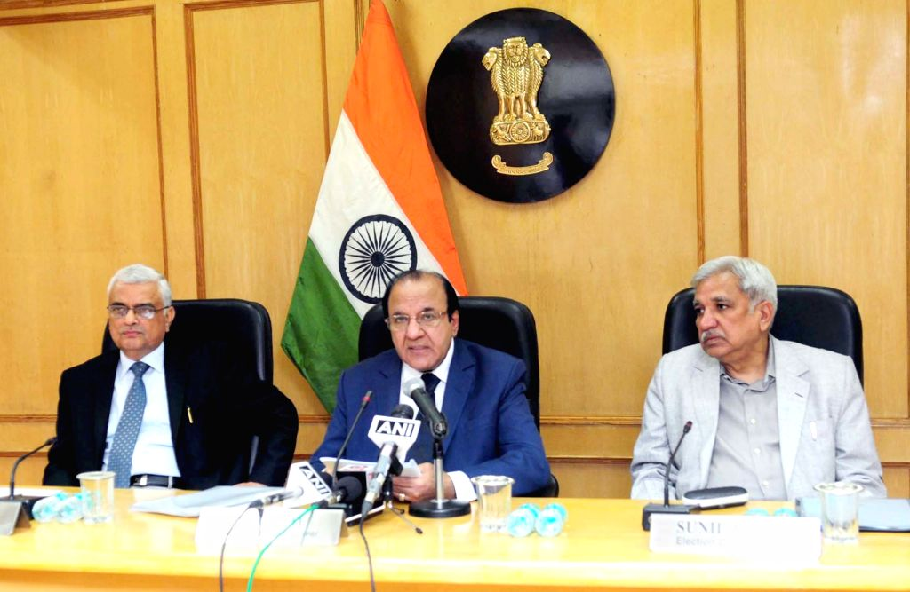 Chief Election Commissioner Achal Kumar Jyoti addresses a press conference to announce the schedule for Assembly Elections to Gujarat and Himachal Pradesh in New Delhi on Oct 12, 2017. ... - Sunil Arora