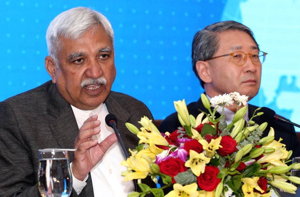 Chief Election Commissioner and A-WEB (Association of World Election Bodies) Chairman Sunil Arora accompanied by South African Election Commission Chairperson Glen Vuma Mashinini, ... - Sunil Arora
