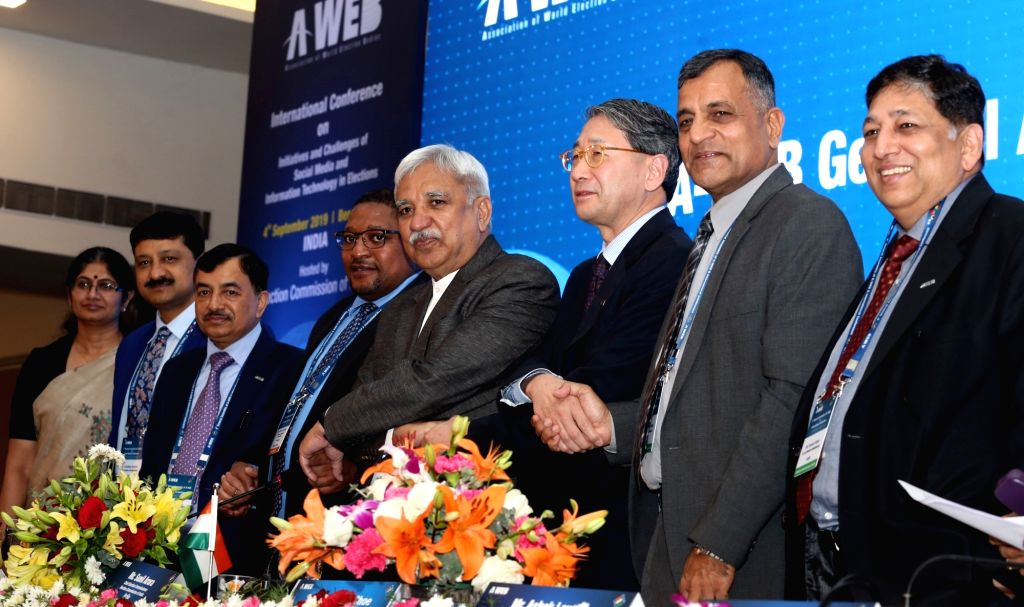 Chief Election Commissioner and A-WEB (Association of World Election Bodies) Chairman Sunil Arora, Election Commissioner Ashok Lavasa, South African Election Commission Chairperson Glen ... - Sunil Arora