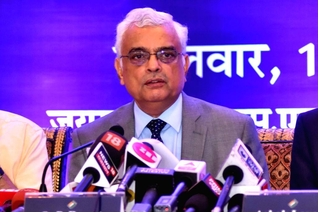 Chief Election Commissioner (CEC) O.P. Rawat addresses a press conference in Jaipur, on Sept 18, 2018.