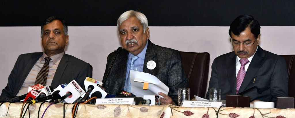 Chief Election Commissioner (CEC) Sunil Arora accompanied by Election Commissioners Ashok Lavasa and Sushil Chandra, addresses a press conference in Chandigarh on Oct 10, 2019. - Sunil Arora