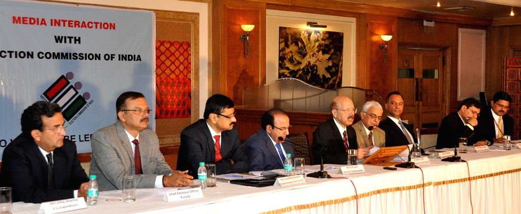 Chief Election Commissioner Dr. Nasim Zaidi addresses a press conference regarding Punjab Assembly Polls 2017 in Chandigarh on Oct 25, 2016. Also seen Election Commissioners Achal Kumar ...