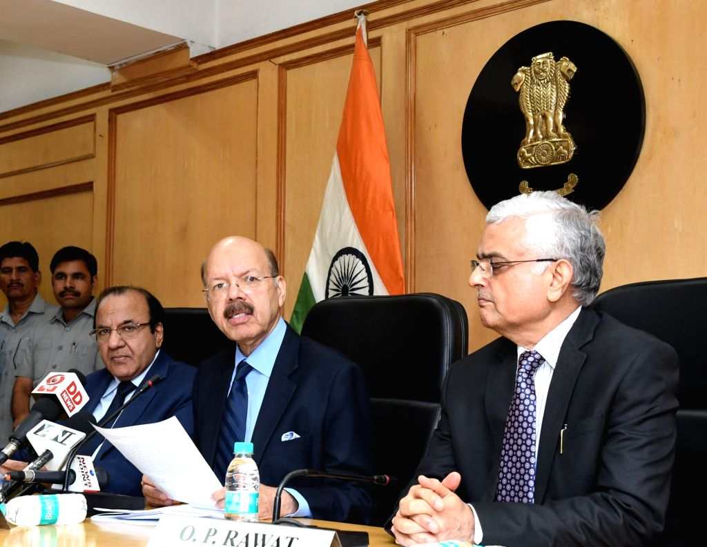 Chief Election Commissioner Dr. Nasim Zaidi addresses a press conference on the conclusion of EVM challenge in New Delhi on June 3, 2017. Also seen Election Commissioners AK Joti and OP ...