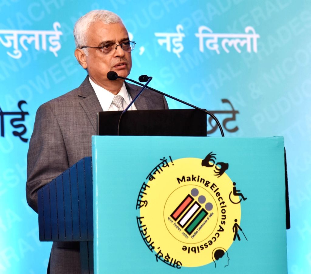 """Chief Election Commissioner O.P. Rawat addresses during an exhibition on """"Inclusion of Persons with Disabilities (PwDs) in the Electoral Process"""", in New Delhi on July 3, 2018."""