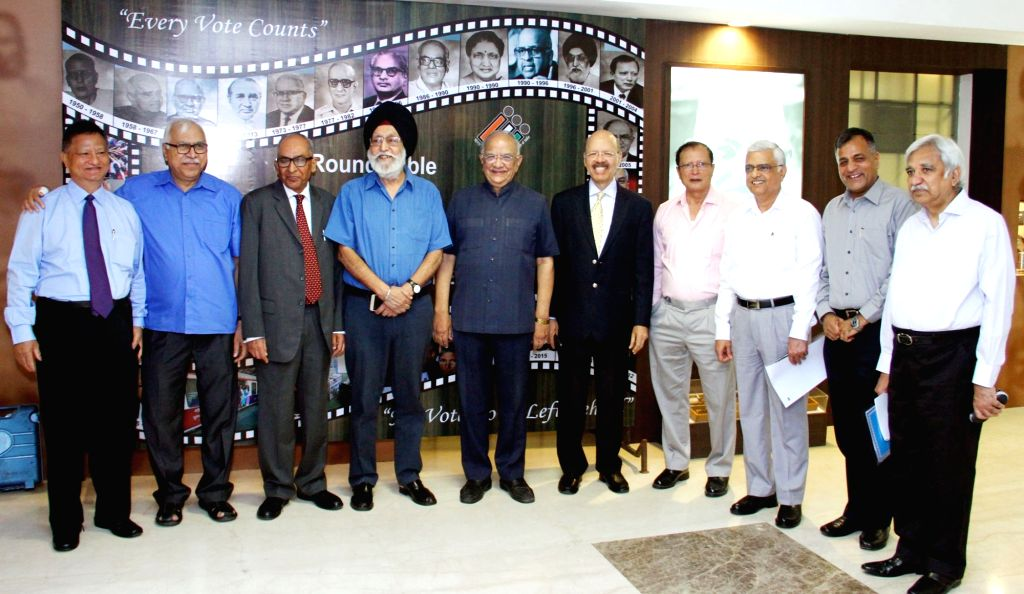 Chief Election Commissioner O.P. Rawat along with the Election Commissioners Sunil Arora and Ashok Lavasa during the round table conference with the former CECs/ECs in New Delhi on May 21, ... - Commissioners Sunil Arora
