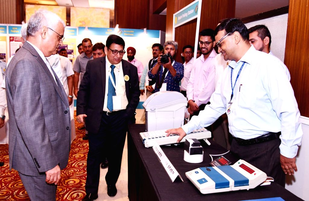 """Chief Election Commissioner O.P. Rawat during an exhibition, on """"Inclusion of Persons with Disabilities (PwDs) in the Electoral Process"""", in New Delhi on July 3, 2018."""