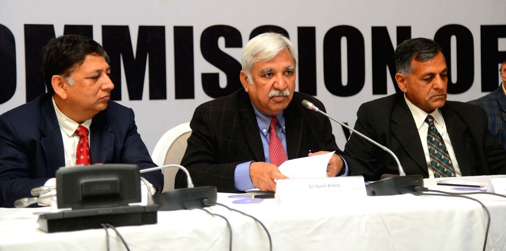 Chief Election Commissioner Sunil Arora accompanied by Election Commissioner Ashok Lavasa, addresses a press conference in Hyderabad, on Feb 12, 2019.