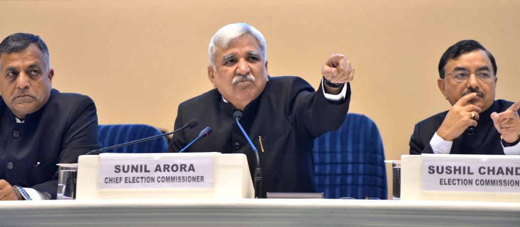 Chief Election Commissioner Sunil Arora accompanied by Election commissioners Ashok Lavasa and Sushil Chandra, addresses a press conference to announce the 2019 Lok Sabha election ...