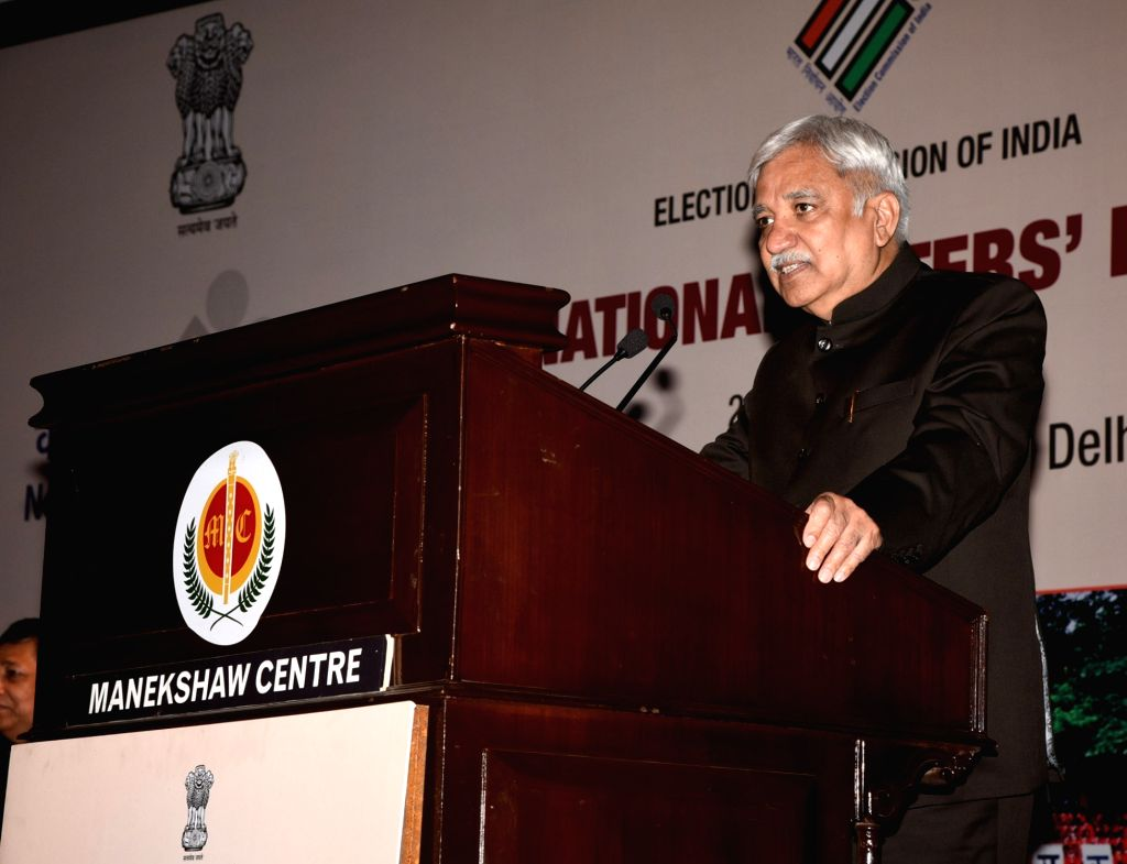 Chief Election Commissioner Sunil Arora addresses at the 9th National Voters' Day programme, in New Delhi on January 25, 2019.