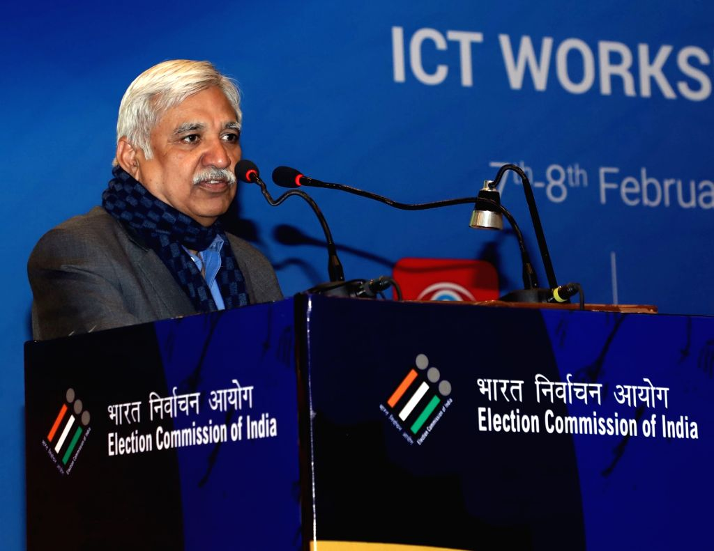 Chief Election Commissioner Sunil Arora addresses at the concluding session of the Training workshop on ICT Application for General Elections 2019, in New Delhi on Feb 8, 2019.