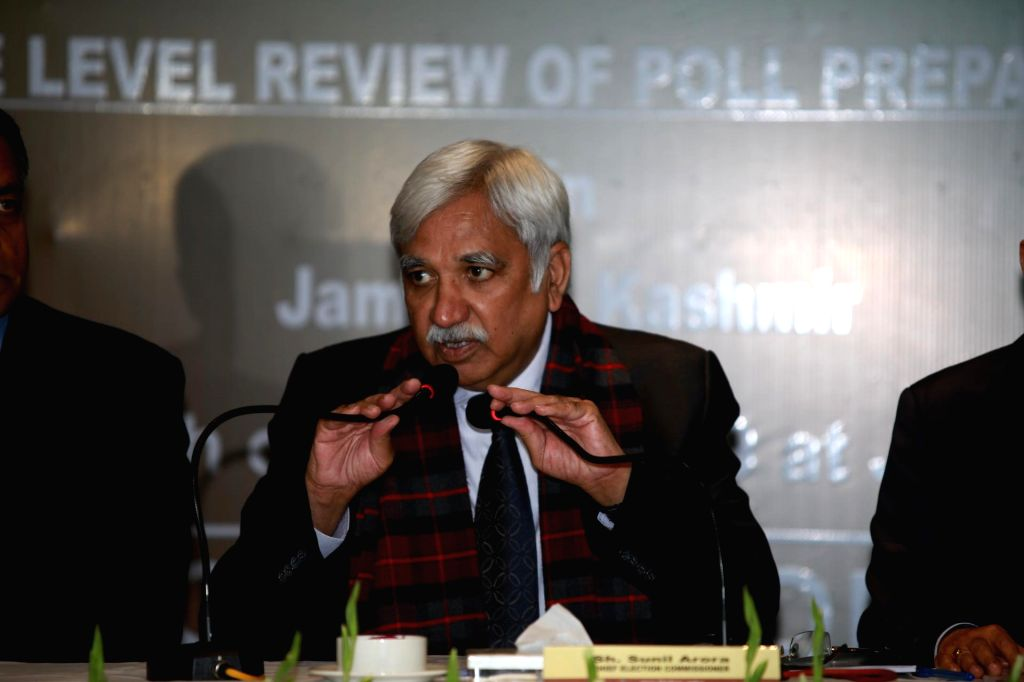 Chief Election Commissioner Sunil Arora addresses a press conference in Jammu on March 5, 2019.