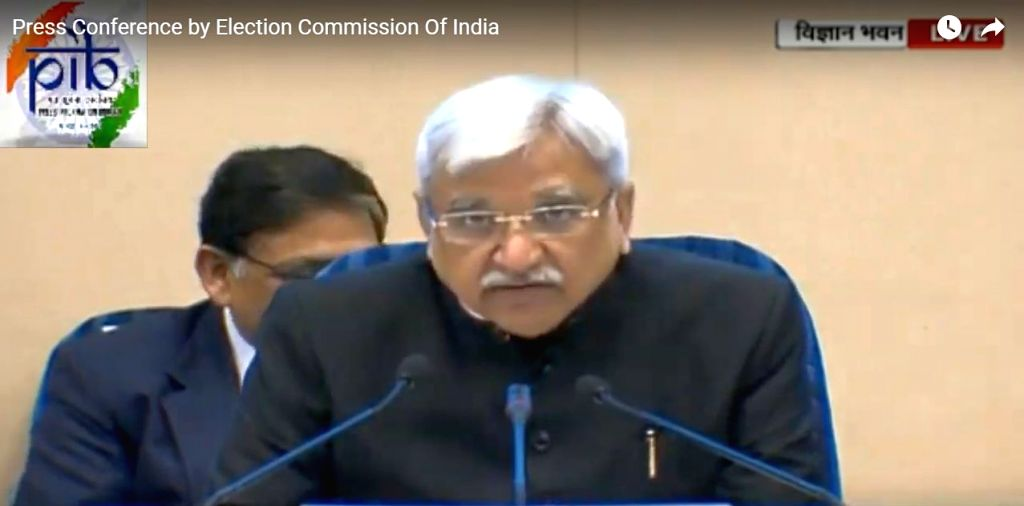 Chief Election Commissioner Sunil Arora addresses a press conference to announce the 2019 Lok Sabha election schedule at Vigyan Bhavan in New Delhi, on March 10, 2019. (Video Grab: You ...