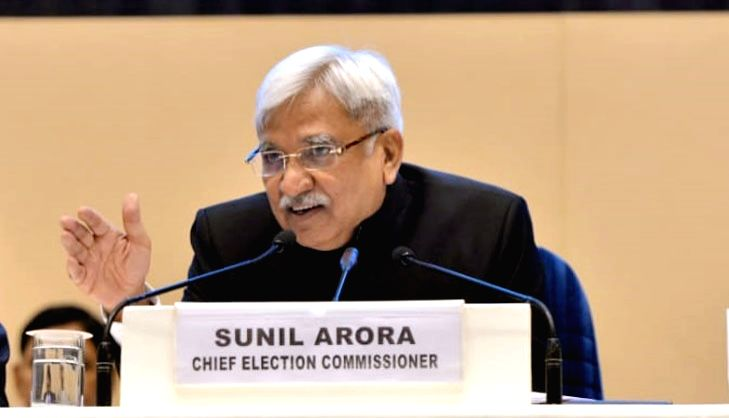 Chief Election Commissioner Sunil Arora addresses a press conference to announce the 2019 Lok Sabha election schedule at Vigyan Bhavan in New Delhi, on March 10, 2019. (Phoot: IANS)