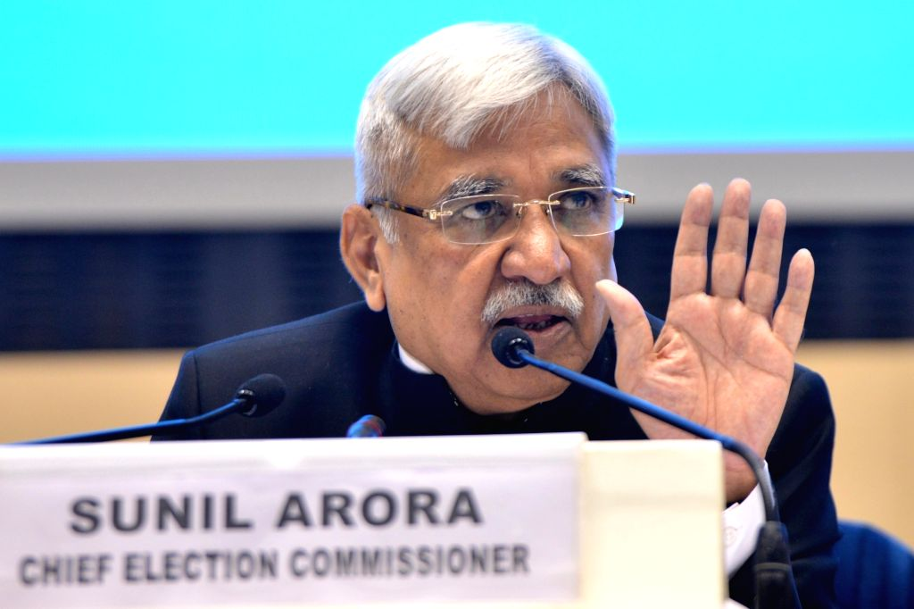Chief Election Commissioner Sunil Arora addresses a press conference to announce the 2019 Lok Sabha election schedule at Vigyan Bhavan in New Delhi, on March 10, 2019.