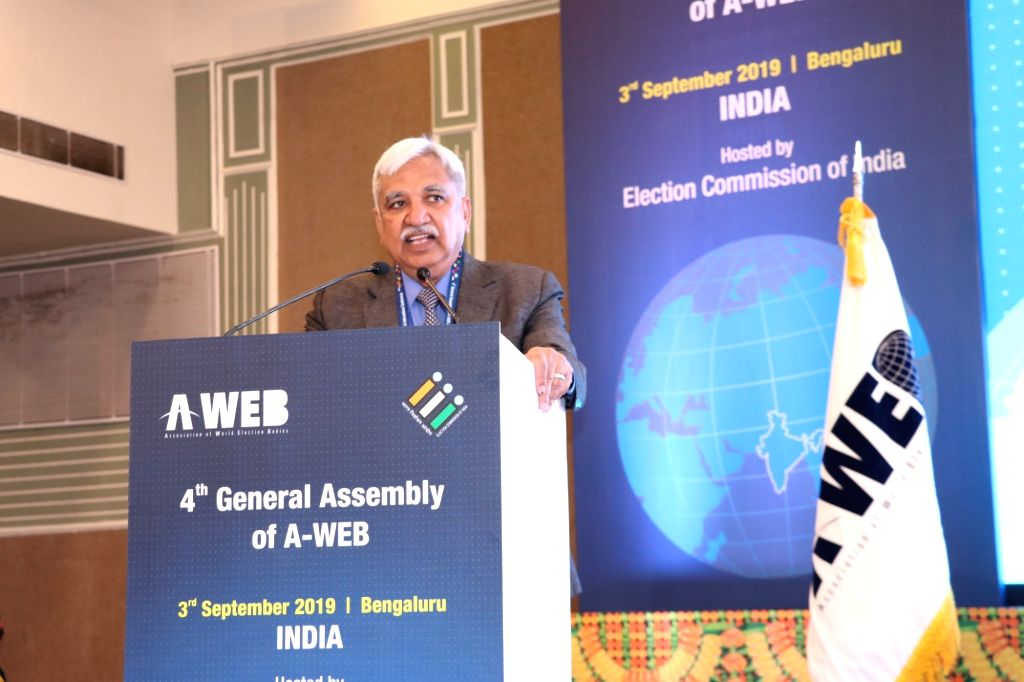 Chief Election Commissioner Sunil Arora addresses after assuming chairmanship of Association of World Election Bodies (AWEB) at the 4th General Assembly meeting of AWEB, in Bengaluru on ...