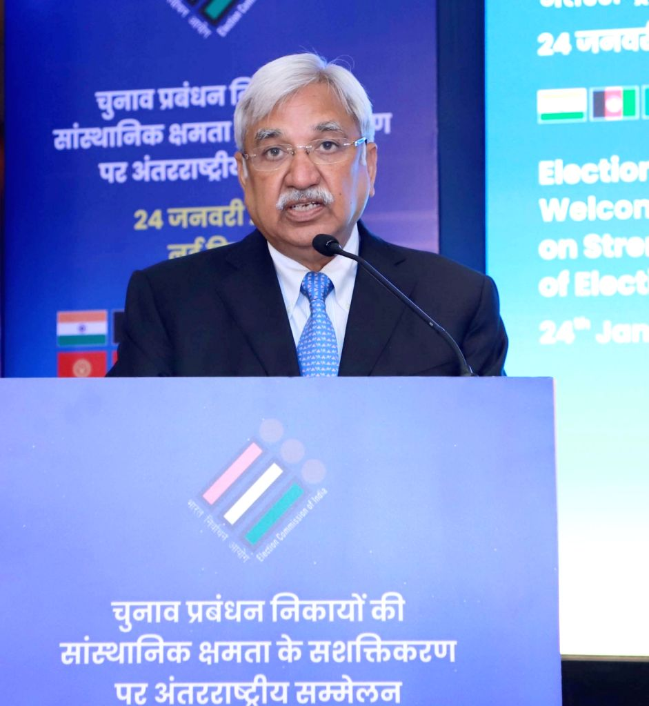 Chief Election Commissioner Sunil Arora addresses at the International Conference on Strengthening Institutional Capacity of Election Management Bodies, in New Delhi on Jan 24, 2020.