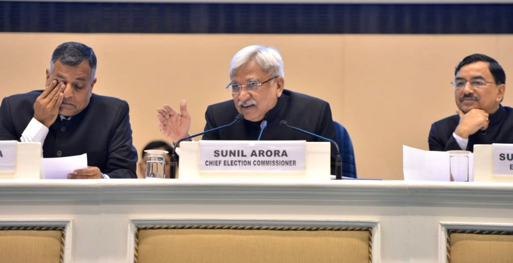 Chief Election Commissioner Sunil Arora along with Election Commissioners Sushil Chandra and Ashok Lavasa addresses a press conference to announce the 2019 Lok Sabha election schedule at ...