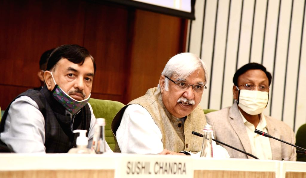 Chief Election Commissioner Sunil Arora holds a press conference to announce the schedule for Bihar Legislative Assembly Elections 2020, in New Delhi on Sep 25, 2020. Also seen Election ... - Rajiv Kumar