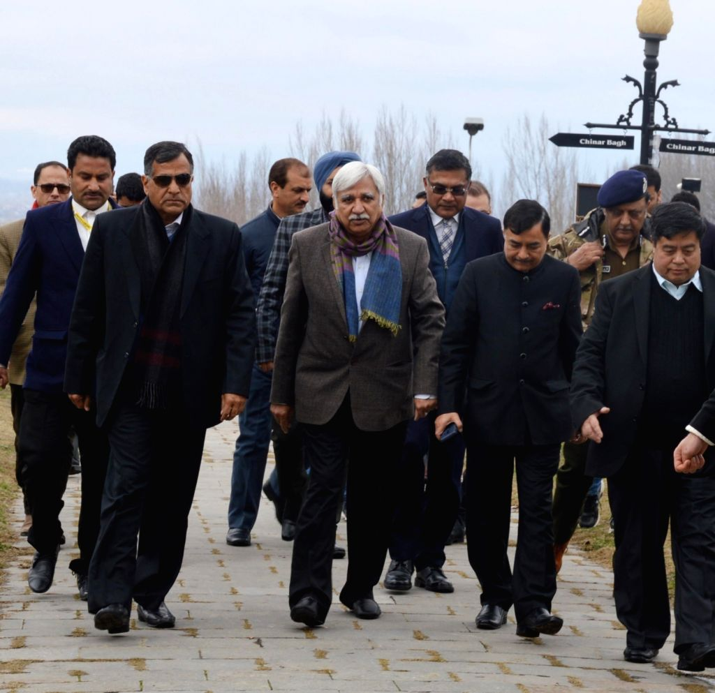 Chief Election Commissioner Sunil Arora with Election Commissioners Sushil Chandra and Ashok Lavasa arrive in Srinagar on March 4, 2019.