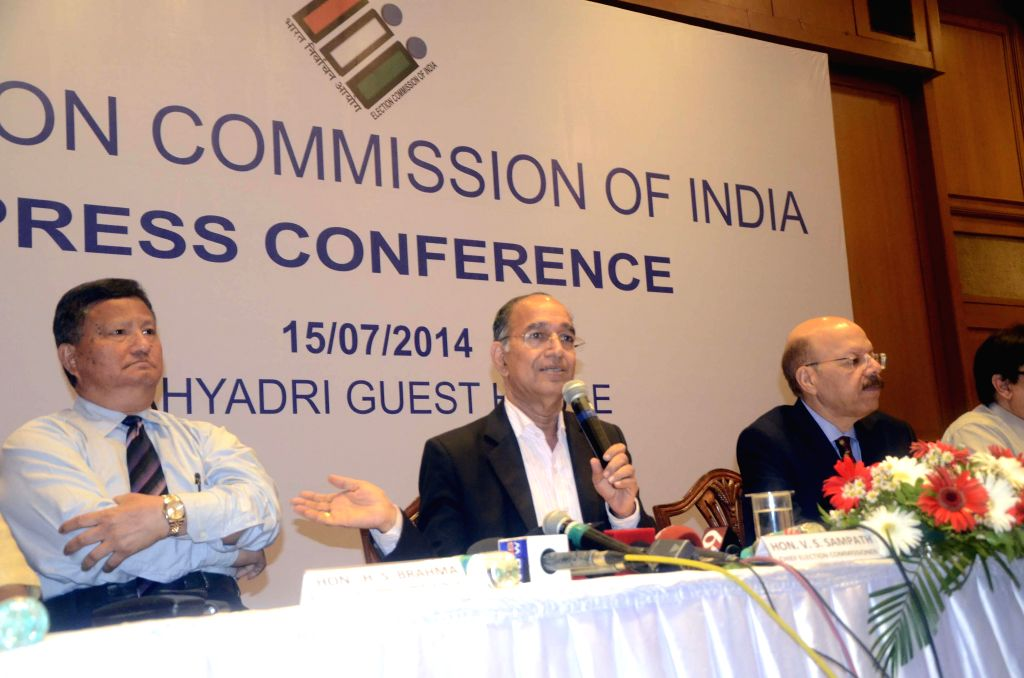 Chief Election Commissioner V S Sampath, and Election Commissioners H.S. Brahma and Syed Nasim Ahmad Zaidi during a press conference in Mumbai on July 15, 2014.