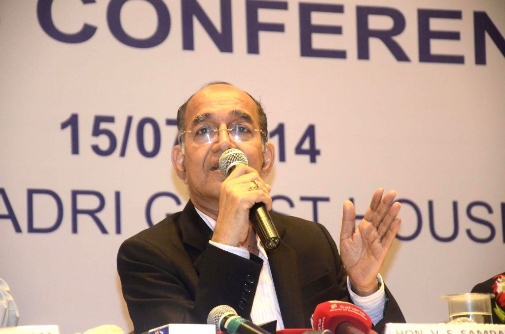 Chief Election Commissioner V S Sampath during a press conference in Mumbai on July 15, 2014.