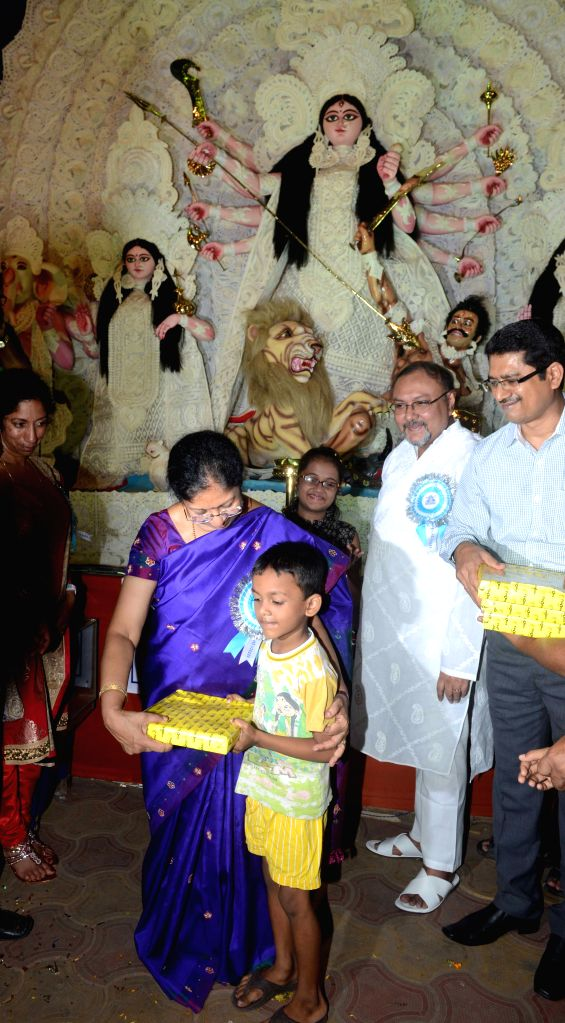 Chief justice of High Court Manjula Chellur during the inauguration of the Hazra Milan Chakra Puja Pandal in Kolkata on Oct 17, 2015.
