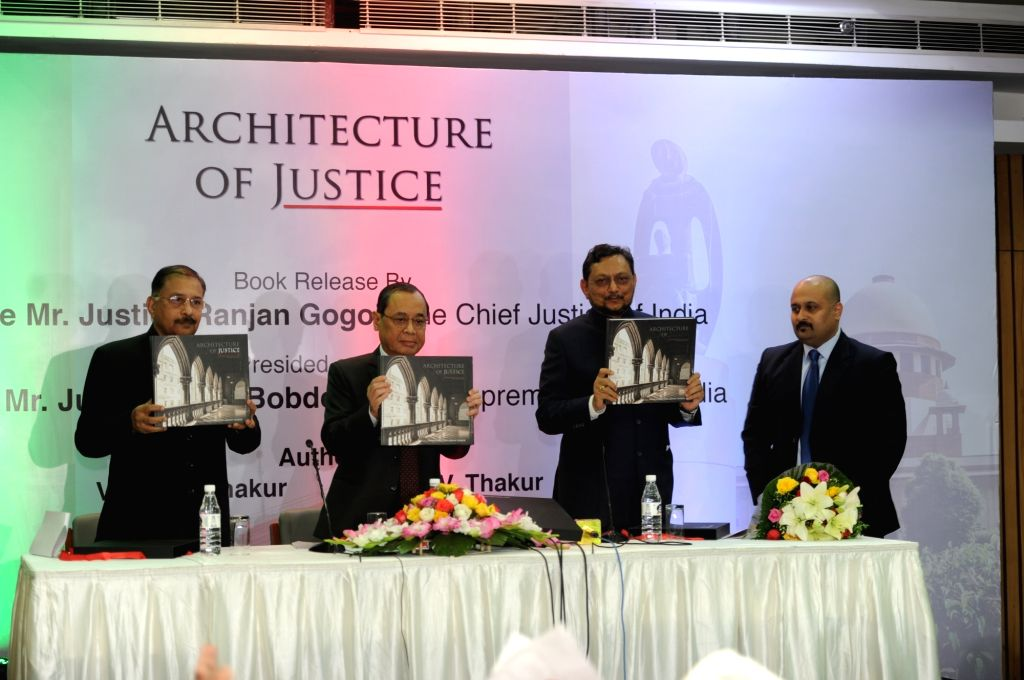 """Chief Justice of India Justice Ranjan Gogoi releases a book """"Architecture of Justice"""" written by Vinay R. Thakur and Amogh V. Thakur in New Delhi on Nov 30, 2018."""
