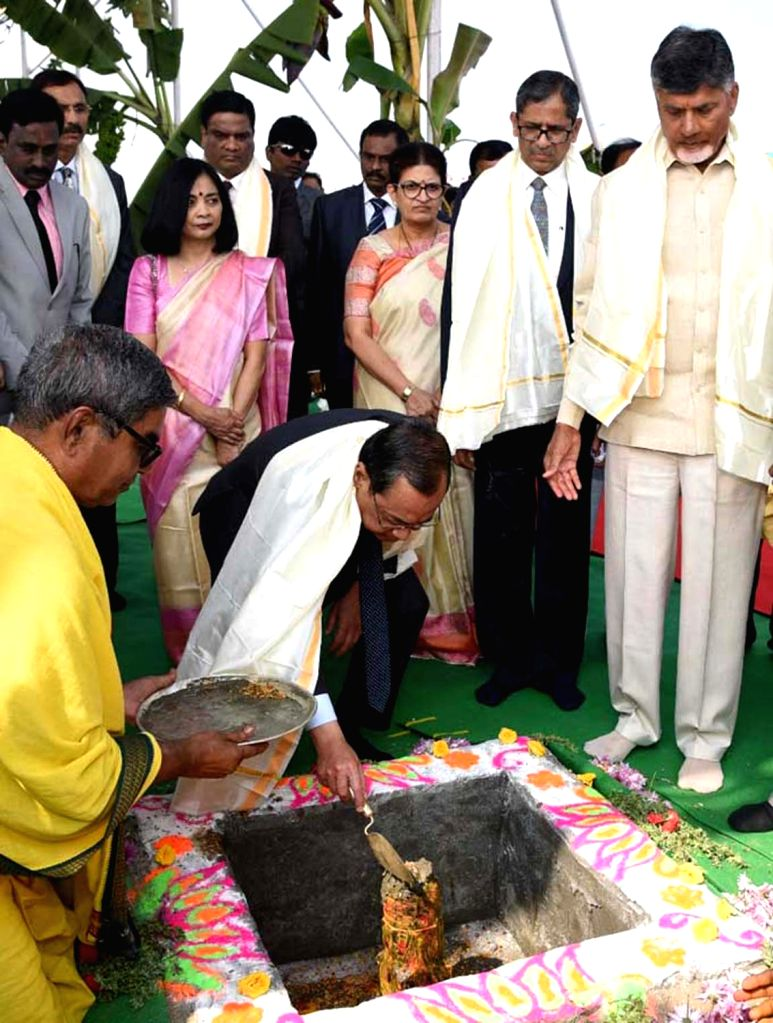 Chief Justice of India Justice Ranjan Gogoi lays the foundation stone for a permanent complex of the Andhra Pradesh High Court in Amaravati on Feb 3, 2019. Also seen Andhra Pradesh Chief ... - N. Chandrababu Naidu