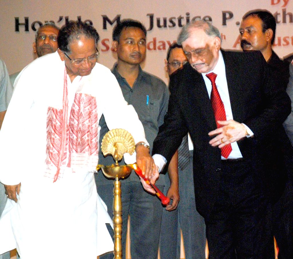 Chief  Justice of India  P. Sathasivam inaugurates the additional building of Gauhati High Court as Justice A K Goel Chief Justice of Gauhati High Court & Assam Chief Minister Tarun Gogoi looks .. - Tarun Gogoi