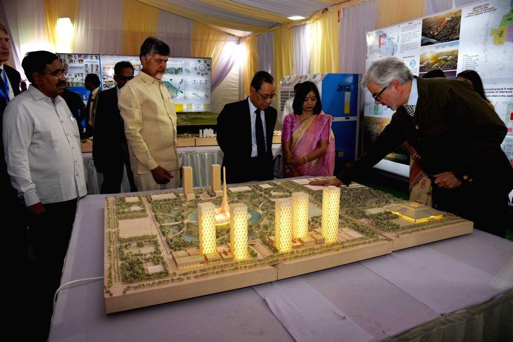 Chief Justice of India Ranjan Gogoi and Andhra Pradesh Chief Minister N. Chandrababu Naidu during an exhibition in Amaravati on Feb 3, 2019. - N. Chandrababu Naidu