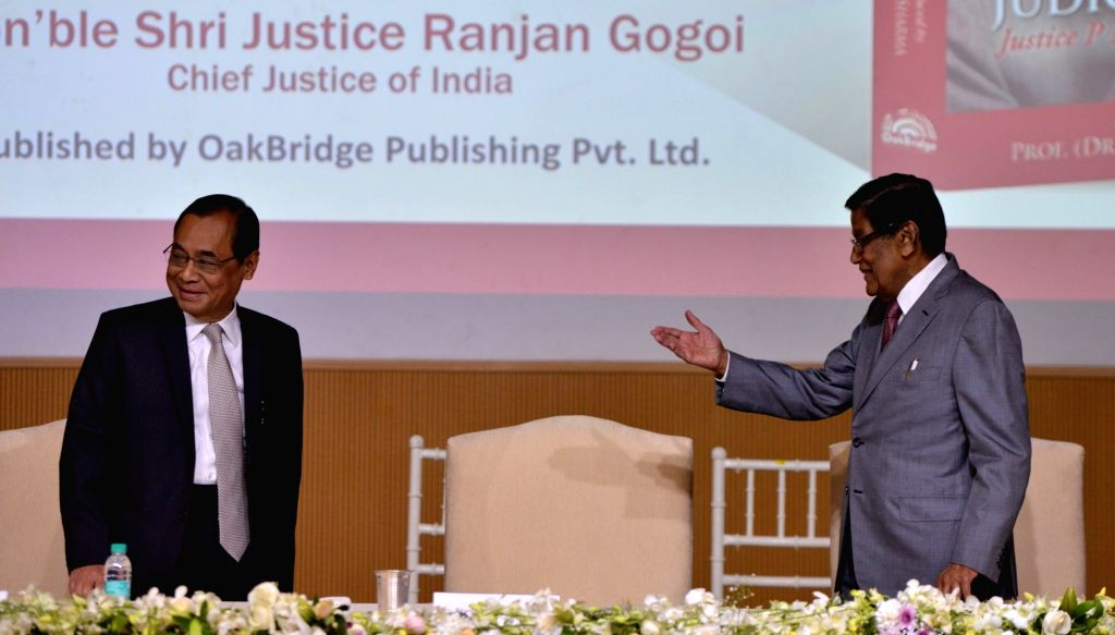 "Chief Justice of India Ranjan Gogoi and Attorney General of India K K Venugopal at the launch of the book ""Law, Justice and Judicial Power: Justice P.N. Bhagwati's Approach"" in ..."